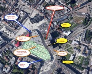"""Rue de tournai / Rue d'havré / Promenade de la fraternité Métro centre ville ou parking du centre commercial """"Saint Christophe"""""""